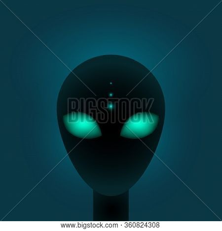 Head Of Alien With Big Green Eyes. Sci-fi Or Paranormal Creature. Vector Illustation