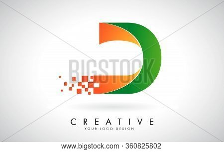 Letter D Logo Design In Bright Colors With Shattered Small Blocks On White Background.  Vector Illus