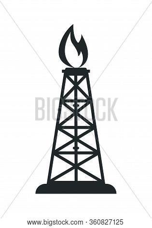 Icon Of A Gas Or Oil Rig. Stock Illustration Isolated On A White Background. Simple Design