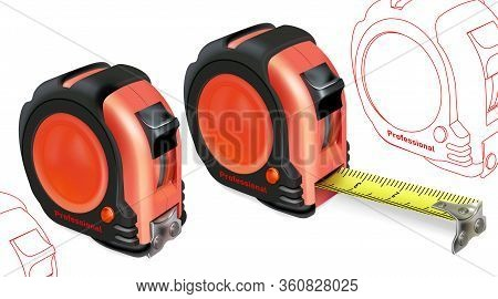 Realistic Tape Measure Isolated On White Background. Photo-realistic Roulette Construction Tool Isom