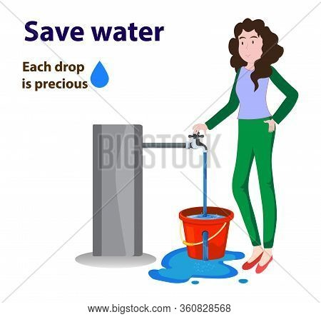 Women Closing The Water Tap As Water Is Overflowing From Damage Or Hole Bucket. Wastage Of Water The