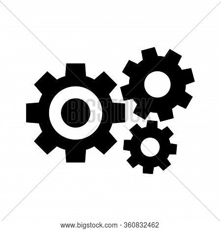 Circle Cog Black For Mechanization Icon Isolated On White, Gear Symbol For Button Black Icon For Pro