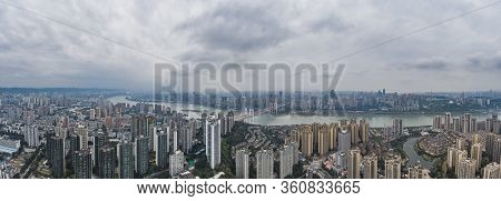 Aerial Pano Pano Drone Shot Of Populated Residence Buildings Alng Yangtze River In Chongqing, Southw