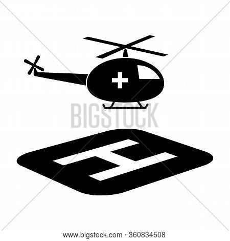 Medical Helicopter And Halipad Icon. Vector Illustration Of A Helicopter On The Body Depicts A Medic