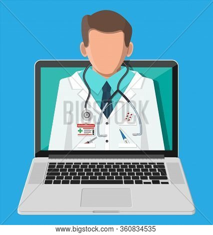 Laptop With Internet Pharmacy Shopping App. Pills And Bottles, Medicine Online. Medical Assistance,