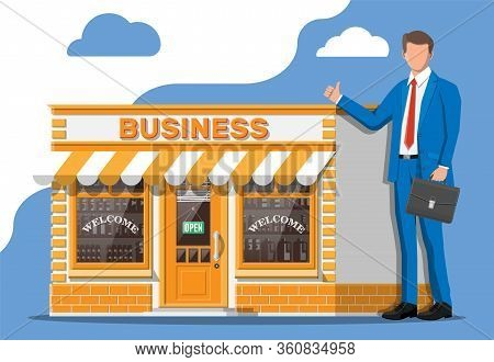 Shop Building Or Commercial Property, Businessman With Briefcase. Real Estate Business Promotional,