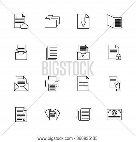 Paper Documents, Doc Folder Outline Icons Set. Black Symbol On White Background. Paper Documents Doc
