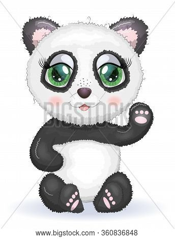 Cute Panda Cartoon Girl Face With Bright Expressive Eyes With Flowers And Stars. Romantic Panda