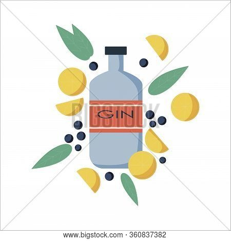 Vector Illustration Of Gin Bottle. Vector Image Of An Alcohol Bottle In Flat Style. Distilled Drink.