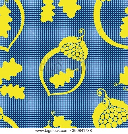 Acorn And Oak Leaves Seamless Vector Pattern Background. Elegant Nature Symbol Blue Yellow Textured