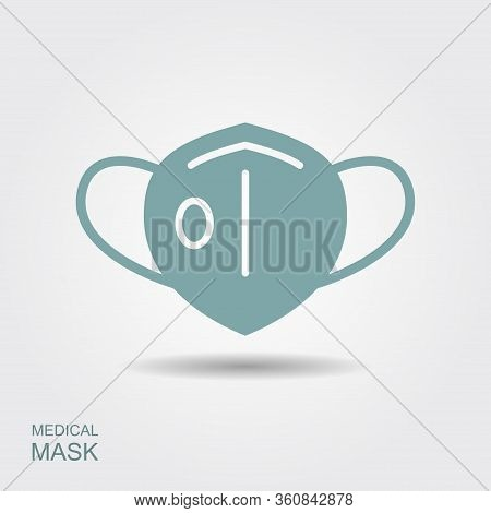 Protection Face Mask With Flap. Flat Icon With Shadow