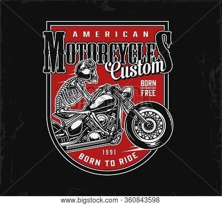 Vintage American Motorcycle Emblem With Skeleton Rider In Moto Helmet Driving Motorbike Isolated Vec