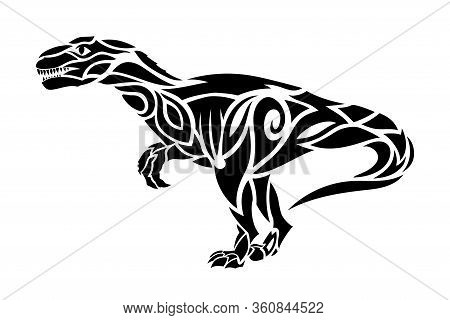 Beautiful Hand Drawn Tribal Tattoo Illustration With Black Predatory Dinosaur Silhouette On The Whit