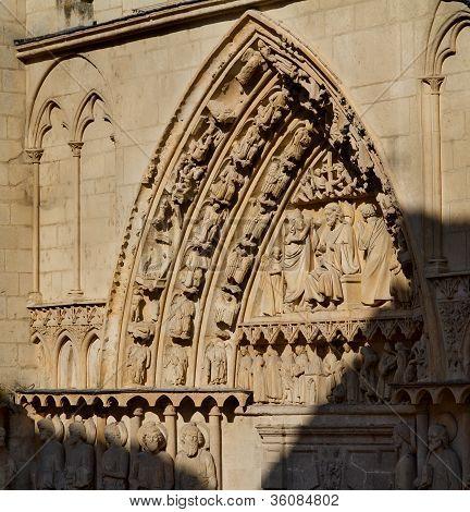 Door Of The Apostles In Burgos Cathedral. Spain