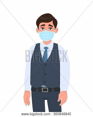 Young Business Man Wearing Medical Mask. Trendy Person In Waistcoat Covering Face Protection From Vi