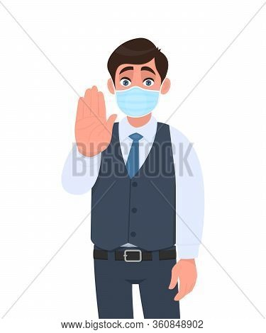 Young Business Man Wearing Medical Mask And Showing Stop Sign With Hand Palm. Person In Waistcoat Co