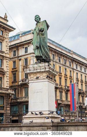 Milan, Italy - November 3, 2012: Monument To The Italian Poet Giuseppe Parini, Piazza Cordusio. Scul