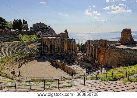 Taormina, Sicily - February 14, 2020: Wide-angle Shot Of Teatro Antico Di Taormina (ancient Amphithe