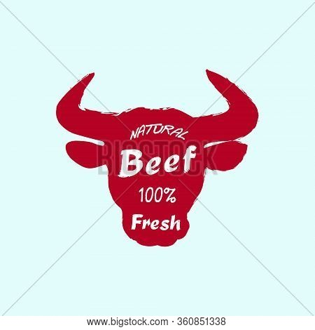 Red Cow Head Silhouette On Blue Background. Beef, Fresh Hand Written Lettering. Beef Template For Bu