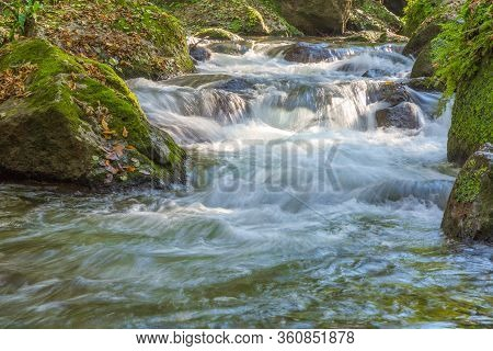 Torrent Near The Monte Gelato Waterfalls In Lazio In Italy.