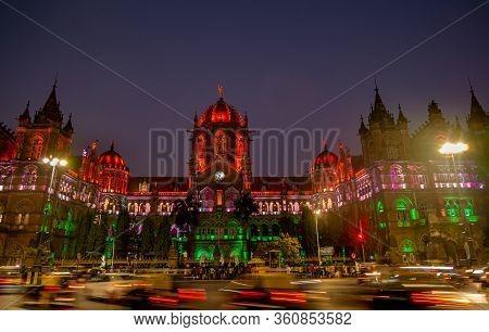 Mumbai, India - January 26, 2020 : Chhatrapati Shivaji Terminus Railway Station (cstm), A Unesco Wor