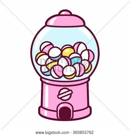 Cute Cartoon Gashapon, Capsule Vending Machine. Pink Japanese Collectible Toy Dispenser, Vector Clip