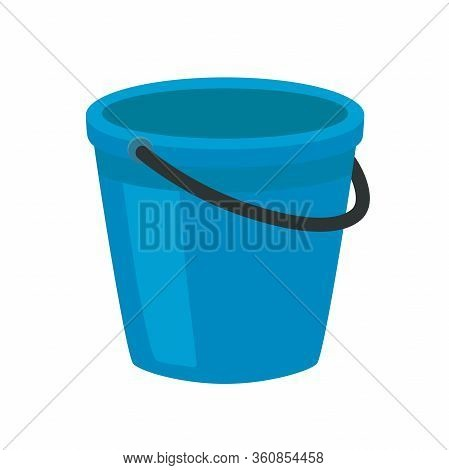 Blue Plastic Bucket With A Black Handle. Isolated White Background. A Bucketful For Washing Food, Wa