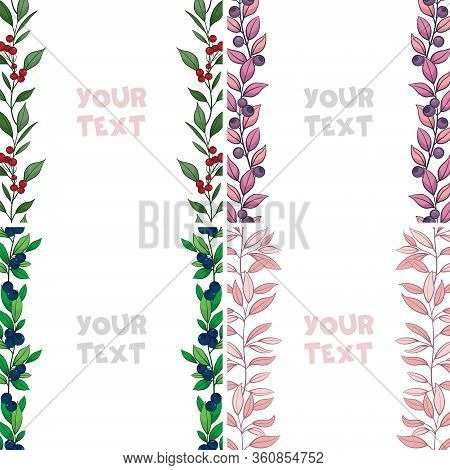 Set Of Vector Foliate Borders; Colorful Vertical Borders With Berries And Leaves For Greeting Cards,