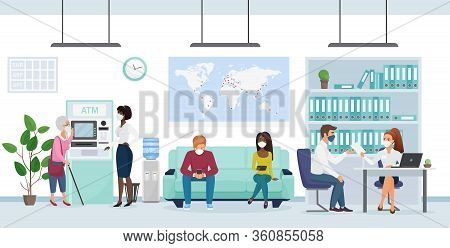 People In Medical Mask In Bank Branch Flat Character Virus Concept Vector Illustration. One Manager