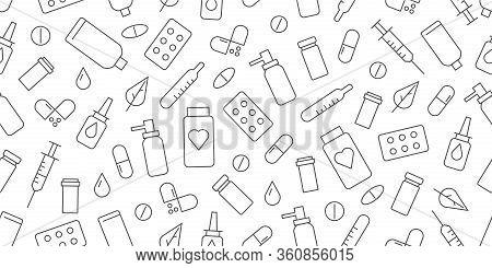 Simple Line Icons Seamless Pattern With Simple Linear Icons For Pharmacy Store Or Hospital Needs, Wa