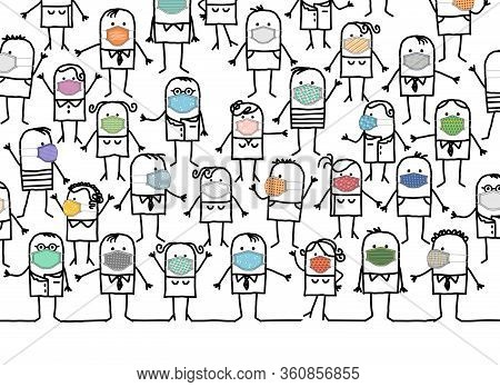 Hand Drawn Cartoon Group Of People Wearing Home-made Colored Protection Masks