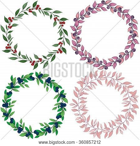 Set Of Vector Foliate Wreaths; Colorful Wreaths With Berries And Leaves For Greeting Cards, Invitati