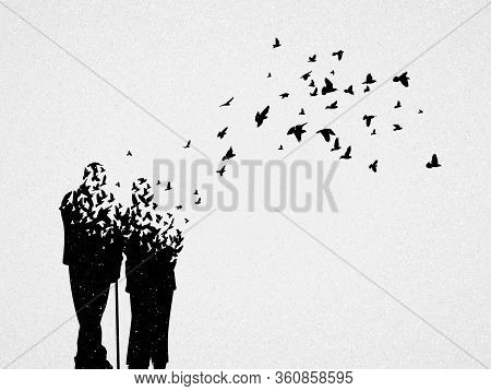 Silhouette Of Elderly Couple And Flying Birds. Conceptual Vector Illustration About Loss Of Loved On