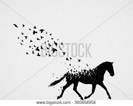 Silhouette Of Running Horse And Flying Birds. Conceptual Vector Illustration About Dying Animal, Pro