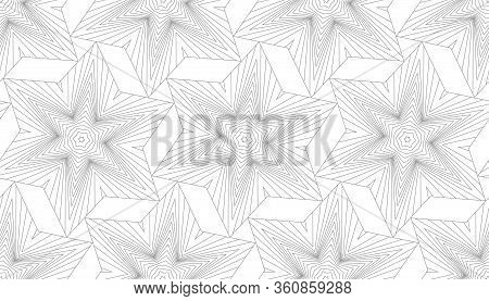 Seamless Abstract Geometric Pattern. Volumetric Forms Of Many Lines. Kaleidoscope Of 3d Images.