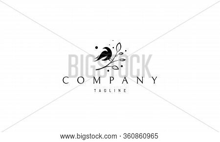 Vector Logo On Which An Abstract Image Of A Bird Sitting On A Branch.