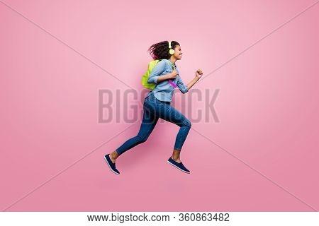 Full Length Profile Side Photo Of Afro American Modern Girl High School Student Jump Run Hold Backpa