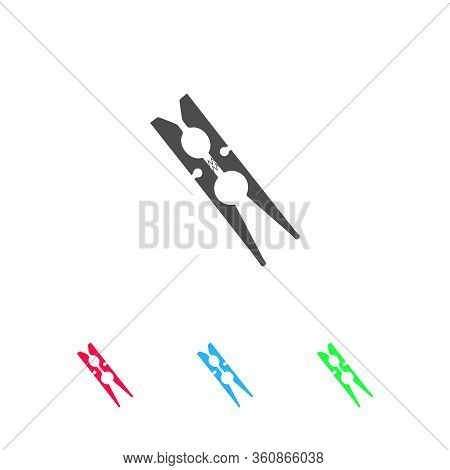Clothespin Icon Flat. Color Pictogram On White Background. Vector Illustration Symbol And Bonus Icon