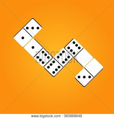 Creative Vector Illustration Of Realistic Dominoes With On An Orange Background. Domino Bone Art Des