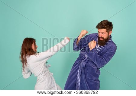 Couple In Love Bathrobes. Drowsy And Weak In Morning. Advice Relationships Surviving Quarantine. Mor