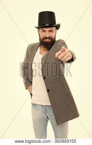 Are You Wearing The Accessory. Bearded Man In Cylinder Hat Accessory Pointing Finger Ahead. Hipster