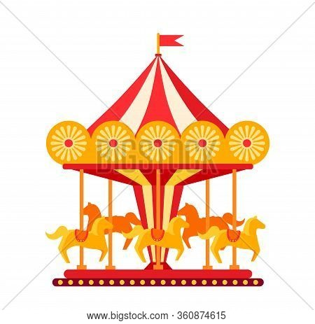 Carousel With Horses In Amusement Park Flat. Colorful Childrens Round Swing Cartoon. Horses Traditio