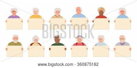 Elderly Group Old People Holding Blank Banner Cartoon Set. Older Men, Women Retirement Age Protester