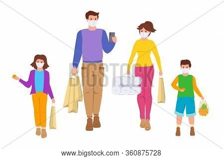 Coronavirus Covid 19, Family Goes Shopping Isolation Period. Grocery Bags. Group Young People, Child