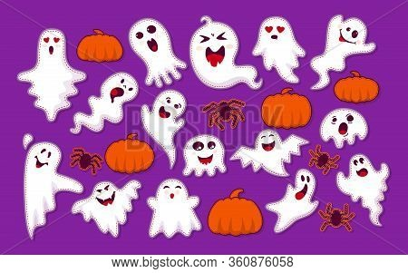 Ghost, Pumpkin, Spider Patch Cartoon Set. Halloween Collection Cute And Scary Ghostly Monsters. Stri