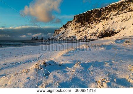 Iceland Winter, Trolls Fingers Rock, Vik Village, Sunrise In Iceland