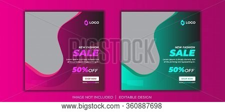 New fashion social media post vector template, social media posts set. Business templates. Abstract design template, vector layouts in popular formats. Chemistry pattern, hexagonal molecule structure on blue. Medicine, science, technology concept.