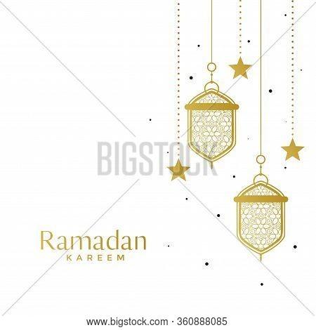 Elegant Islamic Lamps And Star Ramadan Background Vector Design Illustration