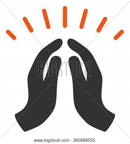 Vector Hope Hands Flat Icon. Vector Pictograph Style Is A Flat Symbol Hope Hands Icon On A White Bac