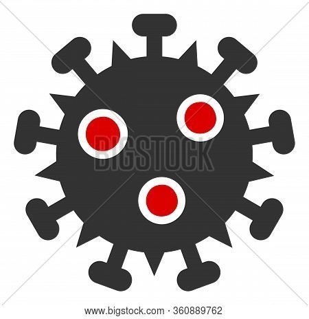 Vector Sars Virus Flat Icon. Vector Pictograph Style Is A Flat Symbol Sars Virus Icon On A White Bac